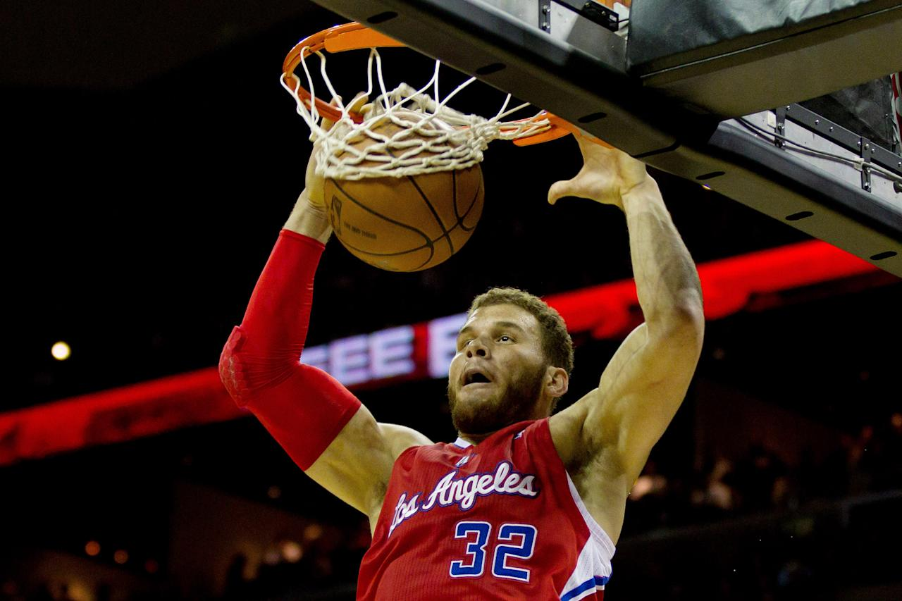 SAN ANTONIO, TX - MAY 15:  Blake Griffin #32 of the Los Angeles Clippers dunks against the San Antonio Spurs in Game One of the Western Conference Semifinals in the 2012 NBA Playoffs at AT&T Center on May 15, 2012 in San Antonio, Texas. NOTE TO USER: User expressly acknowledges and agrees that, by downloading and or using this photograph, User is consenting to the terms and conditions of the Getty Images License Agreement.  (Photo by Justin Edmonds/Getty Images)