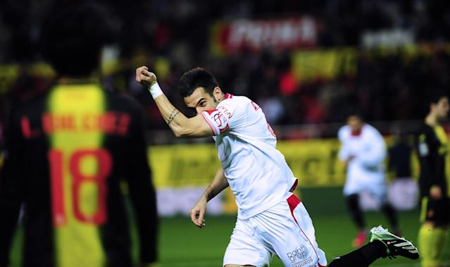 Sevilla's forward Alvaro Negredo celebrates after scoring during the Spanish Copa del Rey (King's Cup) quarter final, second leg, football match Sevilla FC vs Zaragoza at the Ramon Sanchez Pizjuan stadium in Sevilla on January 23, 2013. AFP PHOTO/ CRISTINA QUICLERCRISTINA QUICLER/AFP/Getty Images