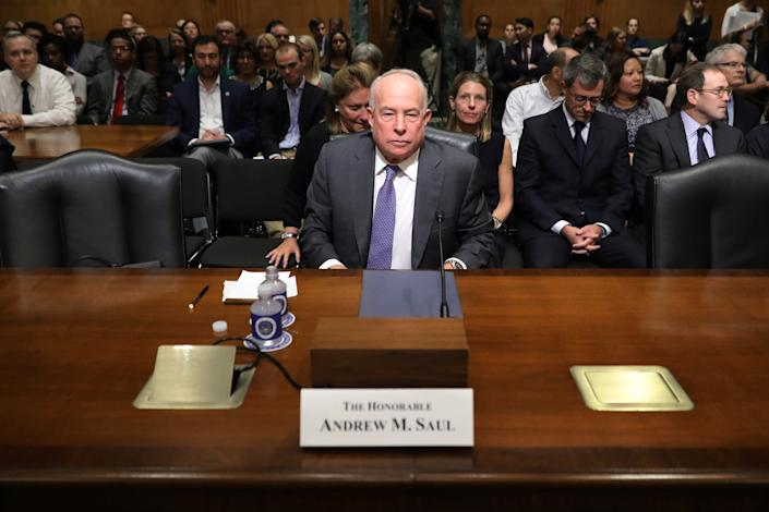 Then New York businessman Andrew Saul testifies before the Senate Finance Committee during his confirmation hearing to be commissioner of the Social Security Administration in the Dirksen Senate Office Building on Capitol Hill October 02, 2018 in Washington, DC. (Chip Somodevilla/Getty Images)