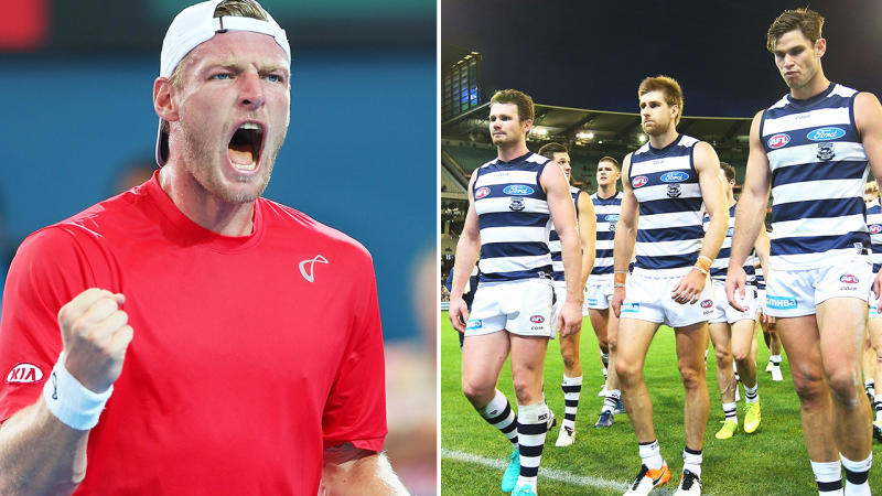 Former Aussie tennis star Sam Groth (pictured left) cheering and AFL players from Geelong (pictured right) walking off the field.