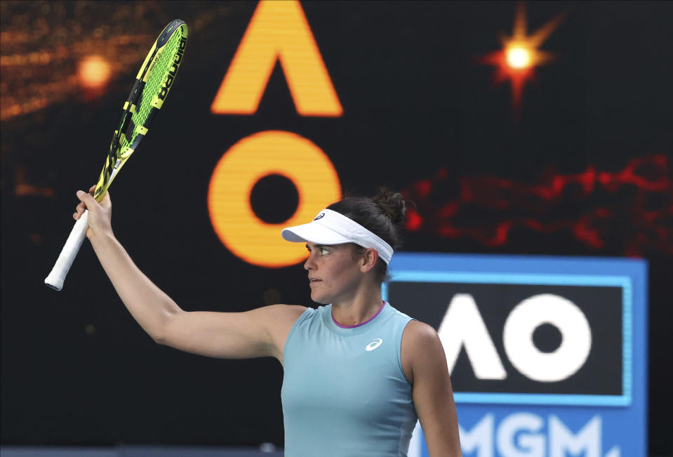 United States' Jennifer Brady celebrates after defeating Karolina Muchova of the Czech Republic in their semifinal match at the Australian Open tennis championship in Melbourne, Australia, Thursday, Feb. 18, 2021.(AP Photo/Hamish Blair)