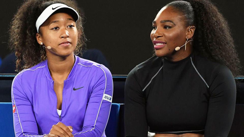 Naomi Osaka and Serena Williams, pictured here at the Rally for Relief in 2020.