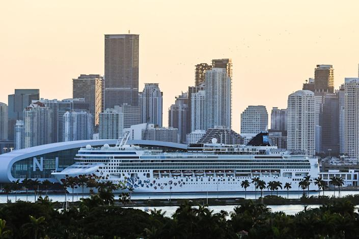 <p>Norwegian Gem cruise ship is seen at the Port of Miami in Miami Beach, Florida</p> (AFP via Getty Images)