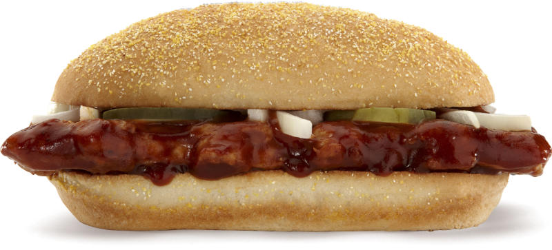 This product image courtesy of McDonald's shows their McRib sandwich. On Dec. 5, the McRib will disappear from every McDonald's in America. When will it return? No telling.   (AP Photo/McDonald's)  NO SALES