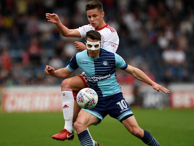 "Soccer Football - League Two - Wycombe Wanderers v Accrington Stanley - Adams Park, Wycombe, Britain - April 21, 2018 Wycombe Wanderers' Matt Bloomfield in action with Accrington Stanley's Callum Johnson Action Images/Tony O'Brien EDITORIAL USE ONLY. No use with unauthorized audio, video, data, fixture lists, club/league logos or ""live"" services. Online in-match use limited to 75 images, no video emulation. No use in betting, games or single club/league/player publications. Please contact your account representative for further details."
