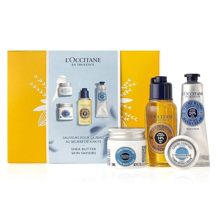 """<p><strong>L'Occitane</strong></p><p>amazon.com</p><p><strong>$34.00</strong></p><p><a href=""""https://www.amazon.com/dp/B0846KZ48V?tag=syn-yahoo-20&ascsubtag=%5Bartid%7C2089.g.256%5Bsrc%7Cyahoo-us"""" rel=""""nofollow noopener"""" target=""""_blank"""" data-ylk=""""slk:Shop Now"""" class=""""link rapid-noclick-resp"""">Shop Now</a></p><p>Pamper the ones you love — or just yourself — with healthier, happier skin with this """"skin saviors"""" Discovery set. It includes some of L'Occitane's biggest fan favorites (like the Shea Butter Hand Cream) to keep skin hydrated and silky-smooth from head to toe.</p>"""
