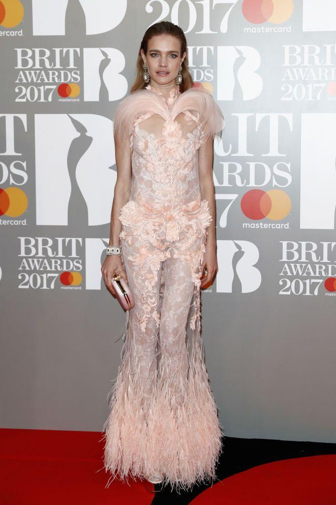 <p>The supermodel walked the BRITs red carpet for the first time in 2017, wearing a feathered, mesh dress by Riccardo Tisci for Givenchy Haute Couture.</p>
