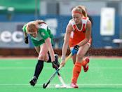 LONDON, ENGLAND - JUNE 7: Caia van Maasakker of Netherlands battles with Miriam Crowley of Ireland during the Investec London Cup match between Ireland and Netherlands at The University of Westminster's Quintin Hogg Memorial Sports Grounds on June 7, 2012 in London, England. (Photo by Jan Kruger/Getty Images)