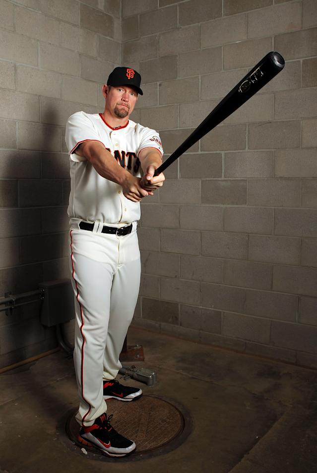 SCOTTSDALE, AZ - MARCH 01: Aubrey Huff #17 of the San Francisco Giants poses during spring training photo day on March 1, 2012 in Scottsdale, Arizona. (Photo by Jamie Squire/Getty Images)