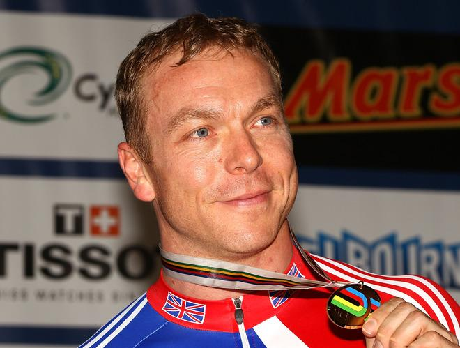 MELBOURNE, AUSTRALIA - APRIL 07:  Chris Hoy of Great Britain celebrates with his Bronze Medal in the Men's Sprint final during day four of the 2012 UCI Track Cycling World Championships at Hisense Arena on April 7, 2012 in Melbourne, Australia.  (Photo by Mark Dadswell/Getty Images)