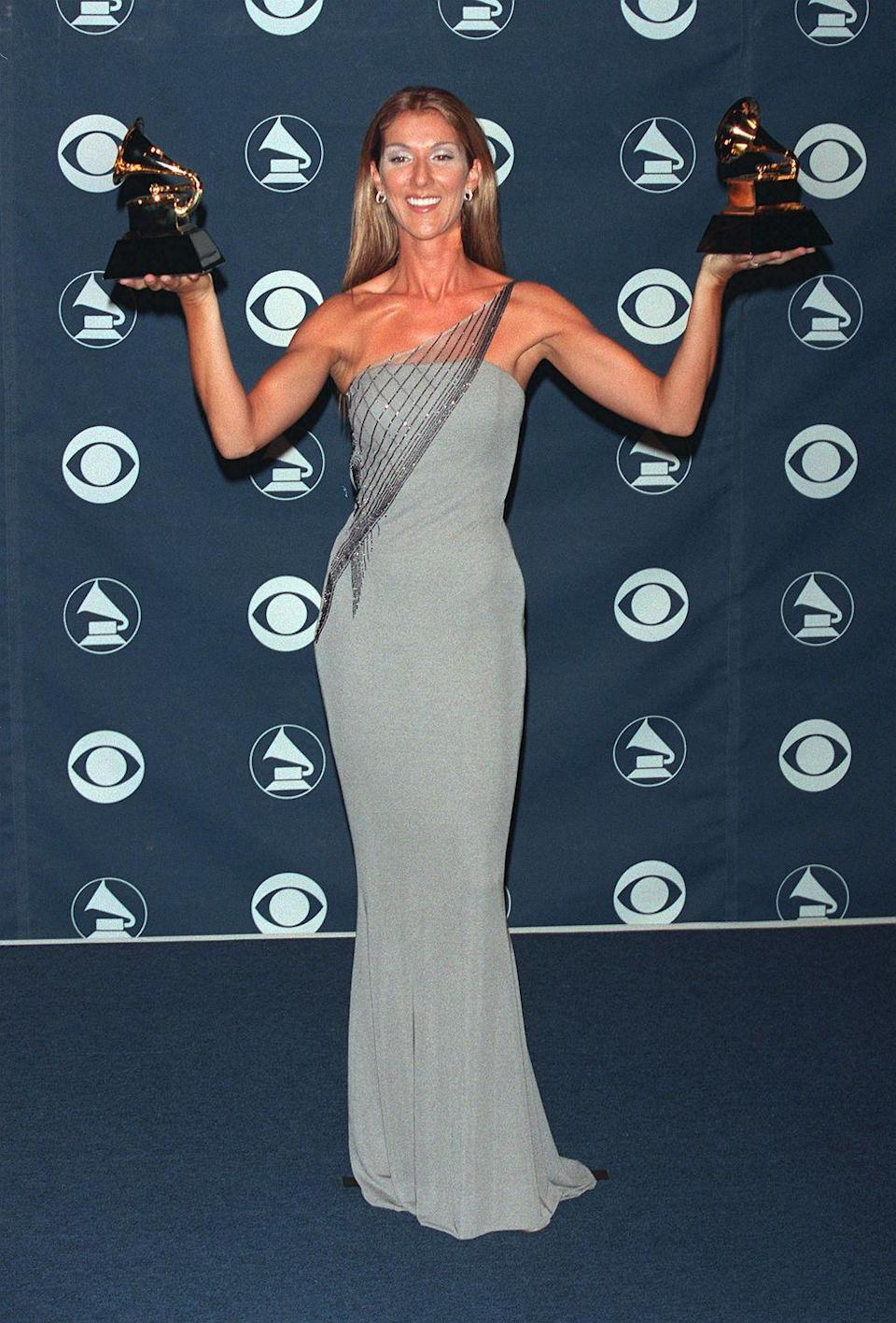 <p>In a pale blue gown with sparkling asymmetrical detailing at the 1999 Grammys, where she took home two awards for the <em>Titanic</em> soundtrack.</p>