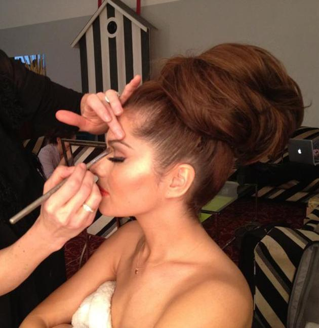 """Celebrity photos: Cheryl Cole's assistant tweeted this gorgeous picture of Cheryl on the set of her. It was accompanied by the caption: """"The Chezmeister getting made-up for her calendar, which month do you think this should be?"""" We don't mind – 12 gorgeous pictures of Cheryl is spoiling us enough as it is."""