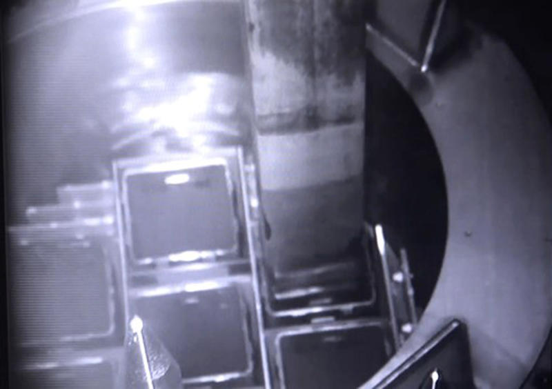In this image released by Tokyo Electric Power Co. (TEPCO), a fuel is placed into a protective cask inside a cooling pool at Unit 3 to be transported to another storage site at the Fukushima nuclear plant in Okuma town, Fukushima prefecture, northeastern Japan, Monday, April 15, 2019. The operator TEPCO of the tsunami-wrecked Fukushima nuclear plant began removing fuel from the cooling pool at one of three reactors that melted down in the 2011 disaster, a milestone in the decades-long process to decommission the plant. (Tokyo Electric Power Co. via AP)