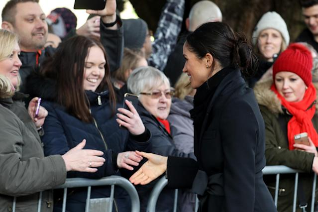 Meghan Markle greets crowds at Cardiff Castle. (Photo: Getty Images)