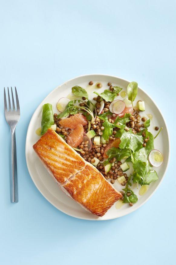 """<p>Flake the salmon into pieces to pack this dinner to-go. This is also a great make-ahead option: Lentils are hearty enough to hang out 'til lunchtime and not get soggy!</p><p><em><a href=""""https://www.goodhousekeeping.com/food-recipes/easy/a29830028/salmon-with-grapefruit-and-lentil-salad-recipe/"""" rel=""""nofollow noopener"""" target=""""_blank"""" data-ylk=""""slk:Get the recipe for Salmon with Grapefruit and Lentil Salad »"""" class=""""link rapid-noclick-resp"""">Get the recipe for Salmon with Grapefruit and Lentil Salad »</a></em></p><p><strong>RELATED: </strong><a href=""""https://www.goodhousekeeping.com/food-recipes/easy/g4900/easy-make-ahead-meals/"""" rel=""""nofollow noopener"""" target=""""_blank"""" data-ylk=""""slk:24 Best Make-Ahead Meals to Fill up Your Fridge and Freezer"""" class=""""link rapid-noclick-resp"""">24 Best Make-Ahead Meals to Fill up Your Fridge and Freezer</a></p>"""