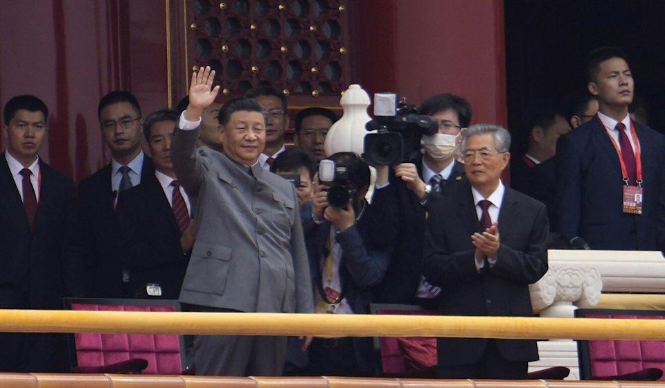 Former president Hu Jiantao appeared at Xi's side during the ceremony. Phoot: AP