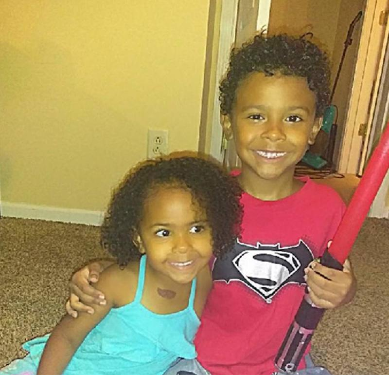 Iliyah Miller, left, with her brother