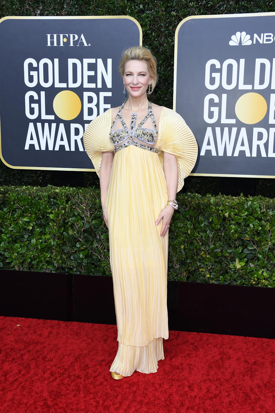 Always a red carpet standout, Blanchett wowed in a soft yellow look by Mary Karantzou. (Photo by Jon Kopaloff/Getty Images)