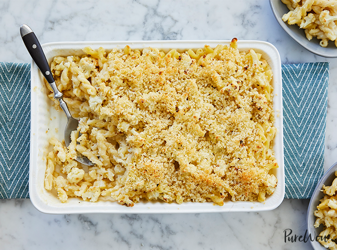 "<p>Pair it with a simple salad and rotisserie chicken.</p> <p><a class=""cta-button-link"" href=""https://www.purewow.com/recipes/roasted-cauliflower-macaroni-and-cheese"" target=""_blank"">Get the recipe</a></p>"