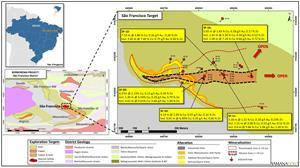 Borborema property, São Francisco target 2020 drilling highlights and main district sector location. Drilling results reported as Cu (%), Au (g/t) and Zn (%) over core lengths.