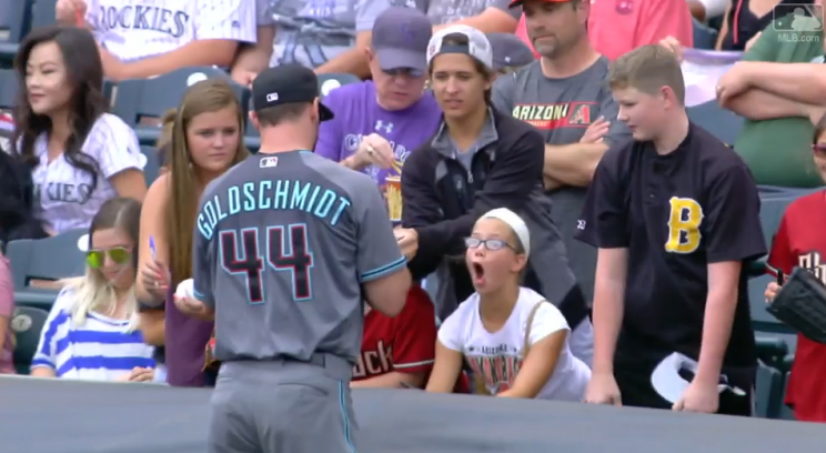 Paul Goldschmidt made this Diamondbacks fan's day when he signed her baseball. (MLB.com)