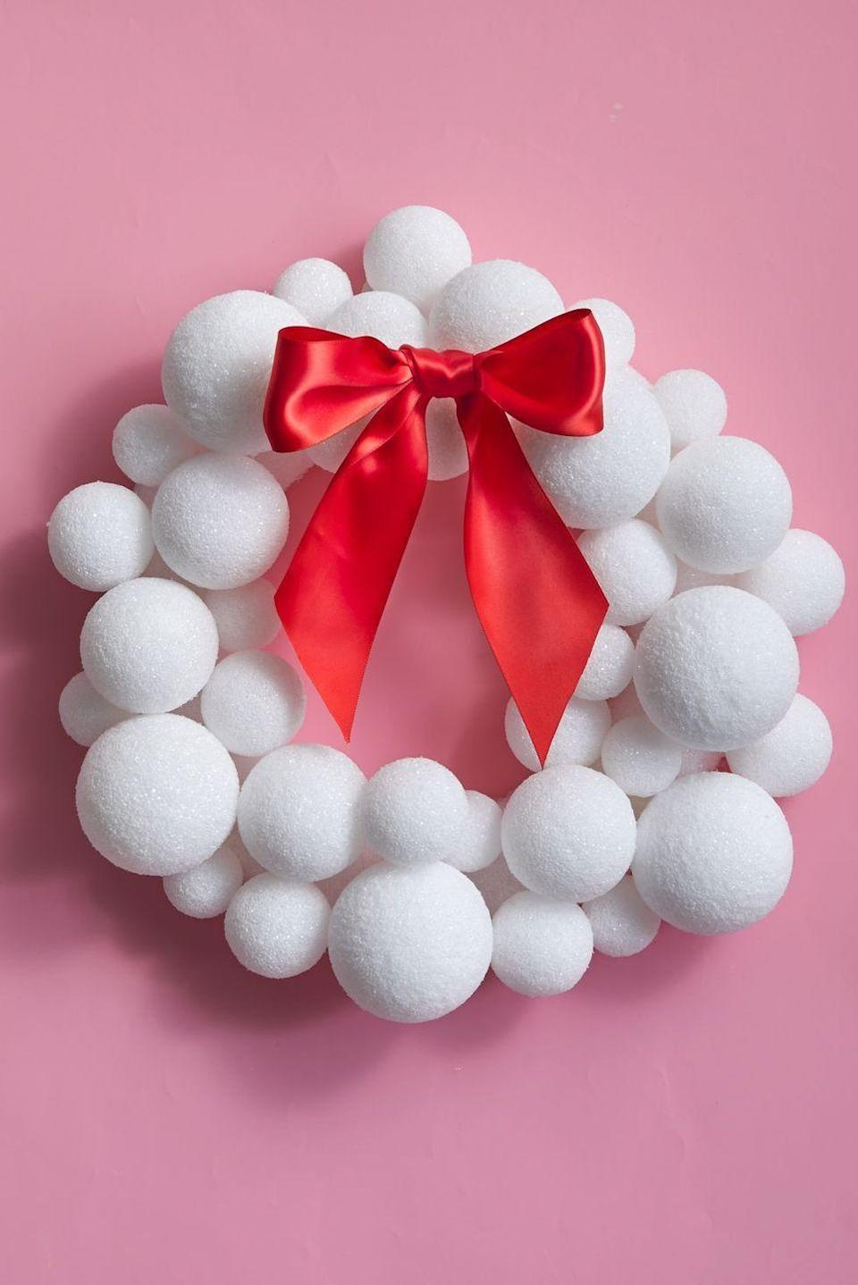 "<p>We bet you've never seen styrofoam balls look this good! To make this crafty-looking wreath, apply styrofoam balls to wreath form with hot glue. Once they're all dry, finish it with a bow and wire for hanging.</p><p><a class=""link rapid-noclick-resp"" href=""https://go.redirectingat.com?id=74968X1596630&url=https%3A%2F%2Fwww.etsy.com%2Flisting%2F771711783%2F2-12-styrofoam-balls-12-or-24-pcs-free%3Fgpla%3D1%26gao%3D1%26gclid%3DCjwKCAjwps75BRAcEiwAEiACMd-2vI2OvEKMOu_cloCIL4anPYU5isZSyjjrJCgn0RAeXZHhsqe0zhoCbh8QAvD_BwE&sref=https%3A%2F%2Fwww.goodhousekeeping.com%2Fholidays%2Fchristmas-ideas%2Fg2361%2Fchristmas-door-decorating-ideas%2F"" rel=""nofollow noopener"" target=""_blank"" data-ylk=""slk:SHOP STYROFOAM BALLS"">SHOP STYROFOAM BALLS</a></p>"