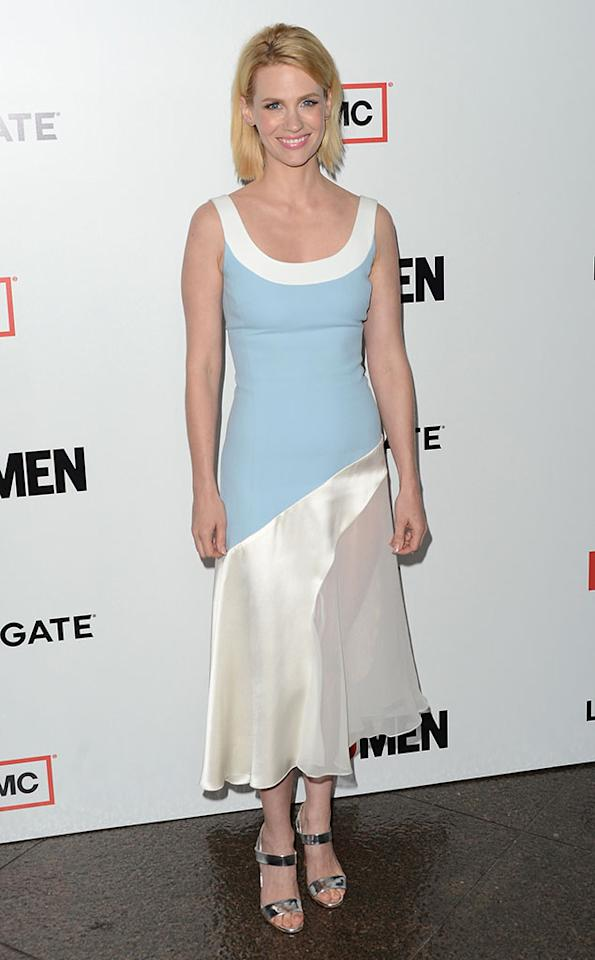 "January Jones arrives at the Premiere of AMC's ""Mad Men"" Season 6 at DGA Theater on March 20, 2013 in Los Angeles, California."