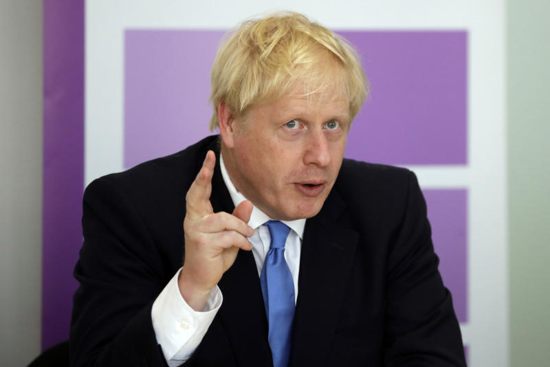 Britain's Prime Minister Boris Johnson speaks during the first meeting of the National Policing Board at the Home Office in London, Wednesday, July 31, 2019. (AP Photo/Kirsty Wigglesworth, pool)