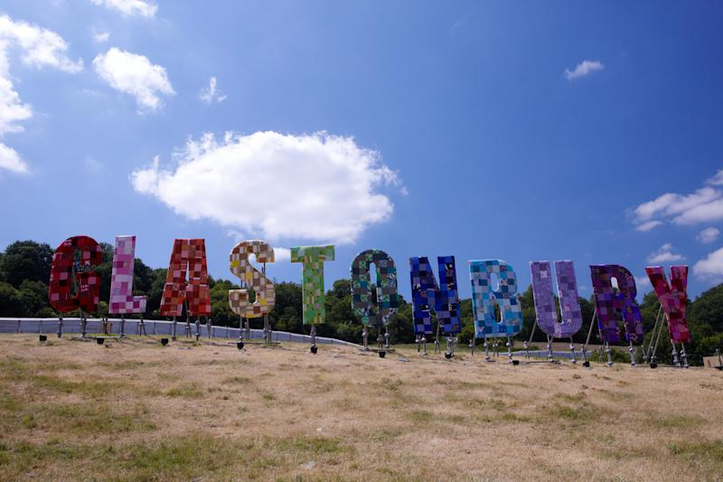 Glastonbury,Uk- .June 26,2010:Giant Wording Sculpture spelling out GLASTONBURY in bright patchwork material.