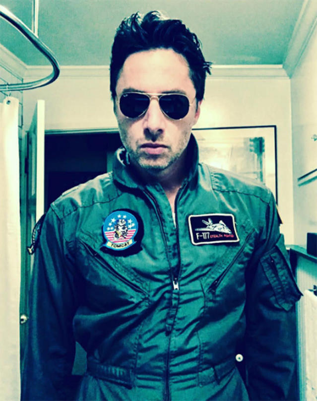 "<p>The actor struck a serious pose as <i>Top Gun'</i>s Maverick: ""You can be my wingman anytime."" (Photo: <a href=""https://www.instagram.com/p/BMKFKKKjSTD/"" rel=""nofollow noopener"" target=""_blank"" data-ylk=""slk:Instagram"" class=""link rapid-noclick-resp"">Instagram</a>) </p>"