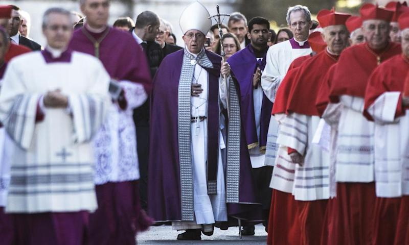 Pope Francis leads the Ash Wednesday Procession
