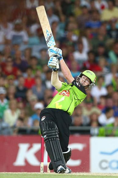 Scott Coyte of the Thunder bats during the Big Bash League match between Sydney Thunder and the Sydney Sixers at ANZ Stadium on December 30, 2012 in Sydney, Australia.  (Photo by Mark Kolbe/Getty Images)