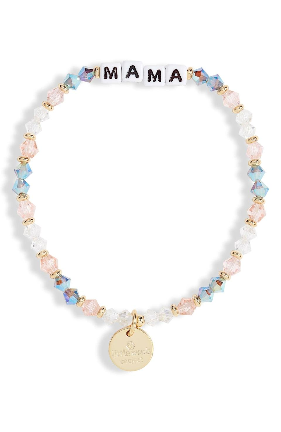 <p>We love the textured look of this <span>Little Words Project Mama Beaded Stretch Bracelet</span> ($20).</p>