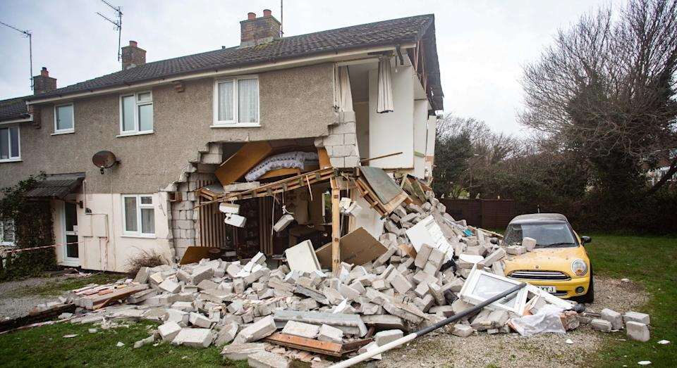 The home was destroyed from a gas explosion (SWNS)
