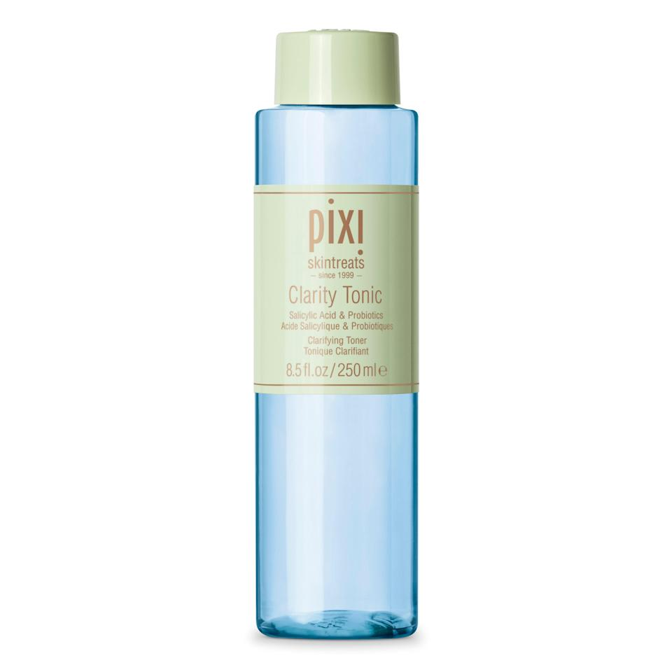 "Whenever someone asks for an affordable toner recommendation, I'll almost always say Pixi. I didn't think its massively popular <a href=""https://www.target.com/p/pixi-skintreats-glow-tonic-3-4-fl-oz/-/A-17408487"" rel=""nofollow noopener"" target=""_blank"" data-ylk=""slk:Glow Tonic"" class=""link rapid-noclick-resp"">Glow Tonic</a> could it get any better, but I was so wrong. The brand's Clarity line hit the shelves this month, and my bottle is almost halfway gone. Tapping a quarter-sized amount onto my palms before patting it into my skin, the Clarity Tonic helps reduce breakouts while gently exfoliating and minimizing the appearance of pores. I pair it with the <a href=""https://www.pixibeauty.com/collections/whats-new/products/clarity-concentrate?variant=32314984824928"" rel=""nofollow noopener"" target=""_blank"" data-ylk=""slk:Clarity Concentrate"" class=""link rapid-noclick-resp"">Clarity Concentrate</a> and oil-free <a href=""https://www.pixibeauty.com/collections/whats-new/products/clarity-lotion?variant=32315004092512"" rel=""nofollow noopener"" target=""_blank"" data-ylk=""slk:Clarity Moisturizer"" class=""link rapid-noclick-resp"">Clarity Moisturizer</a> for a refreshed, hydrated complexion. —<em>T.G.</em> $15, Pixi By Petra. <a href=""https://www.pixibeauty.com/products/clarity-tonic?variant=32315012251744"" rel=""nofollow noopener"" target=""_blank"" data-ylk=""slk:Get it now!"" class=""link rapid-noclick-resp"">Get it now!</a>"