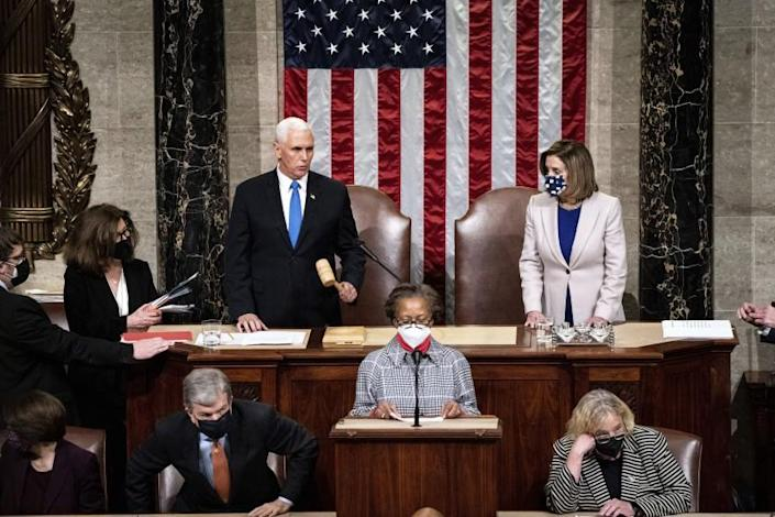 Speaker of the House Nancy Pelosi, D-Calif., and Vice President Mike Pence