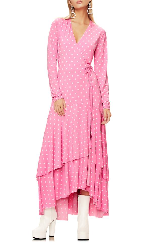 """<p>The cut of this <a href=""""https://www.popsugar.com/buy/AFRM-Elodie-Ruffle-Hem-Long-Sleeve-Wrap-Dress-553151?p_name=AFRM%20Elodie%20Ruffle%20Hem%20Long-Sleeve%20Wrap%20Dress&retailer=shop.nordstrom.com&pid=553151&price=128&evar1=fab%3Aus&evar9=47269950&evar98=https%3A%2F%2Fwww.popsugar.com%2Fphoto-gallery%2F47269950%2Fimage%2F47270580%2FAFRM-Elodie-Ruffle-Hem-Long-Sleeve-Wrap-Dress&list1=shopping%2Cnordstrom%2Ceditors%20pick%2Cspring%2Cspring%20fashion%2Cfashion%20shopping&prop13=api&pdata=1"""" rel=""""nofollow"""" data-shoppable-link=""""1"""" target=""""_blank"""" class=""""ga-track"""" data-ga-category=""""Related"""" data-ga-label=""""https://shop.nordstrom.com/s/afrm-elodie-ruffle-hem-long-sleeve-wrap-dress/5526496/full?origin=category-personalizedsort&amp;breadcrumb=Home%2FWomen%2FNew%20Arrivals&amp;color=pink%20polka%20dot"""" data-ga-action=""""In-Line Links"""">AFRM Elodie Ruffle Hem Long-Sleeve Wrap Dress </a> ($128) is so flattering.</p>"""