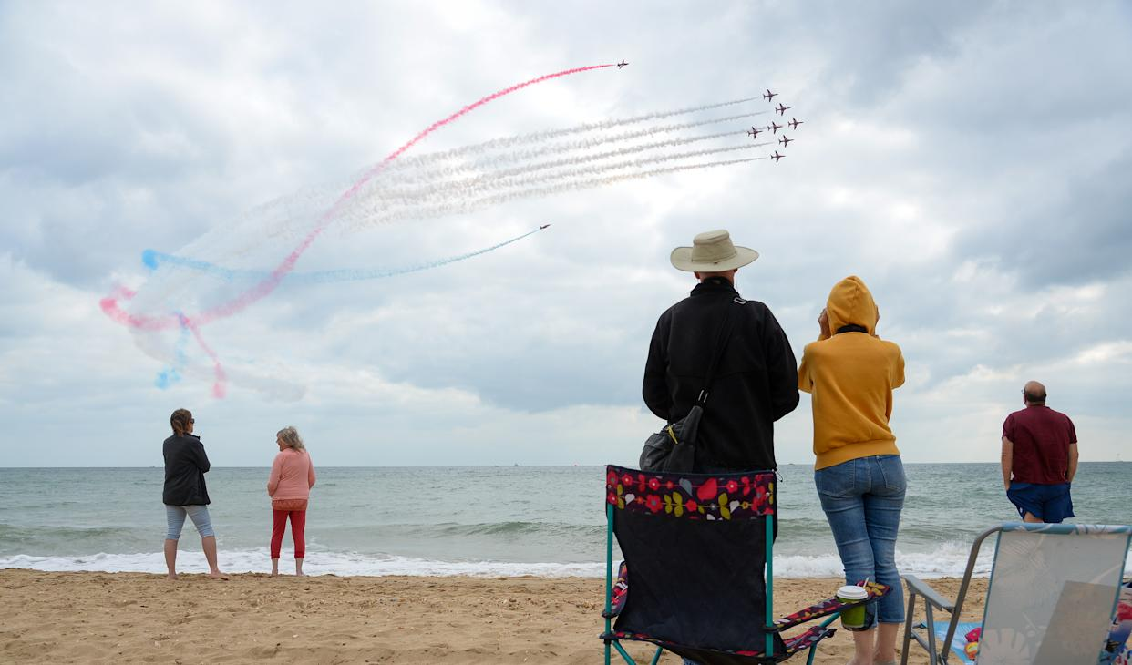 The Red Arrows perform during the Bournemouth Air Festival on September 02, 2021 in Bournemouth.