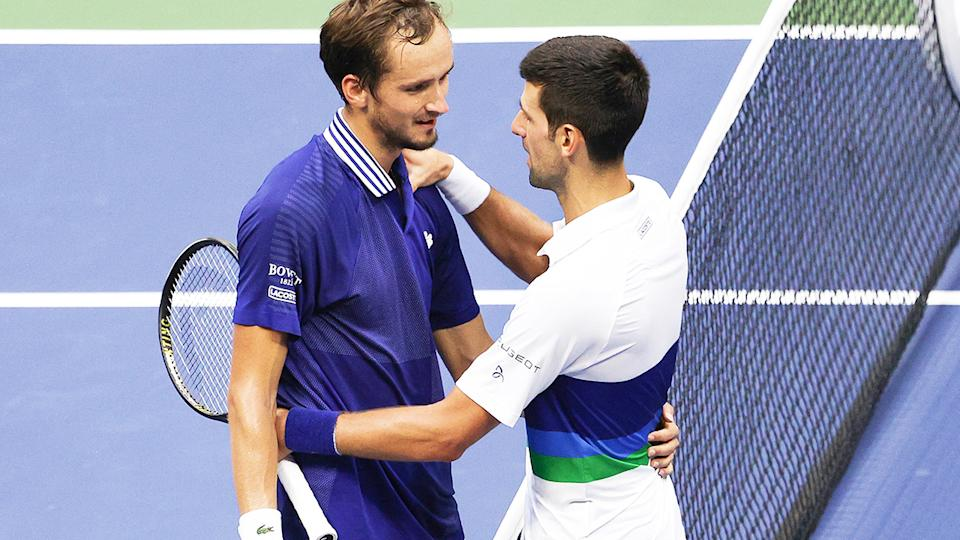 Daniil Medvedev and Novak Djokovic, pictured here after the US Open final.