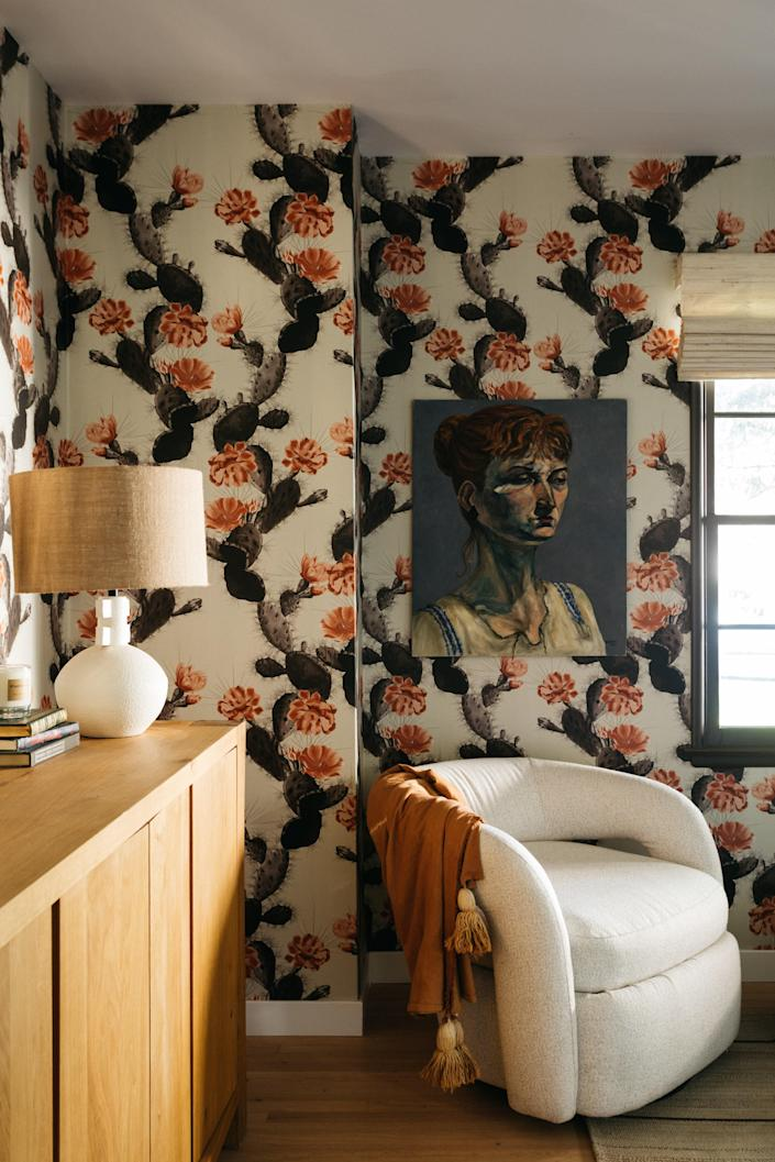 AFTER: The large-scale cactus and blossom wallpaper is from Burke Decor.