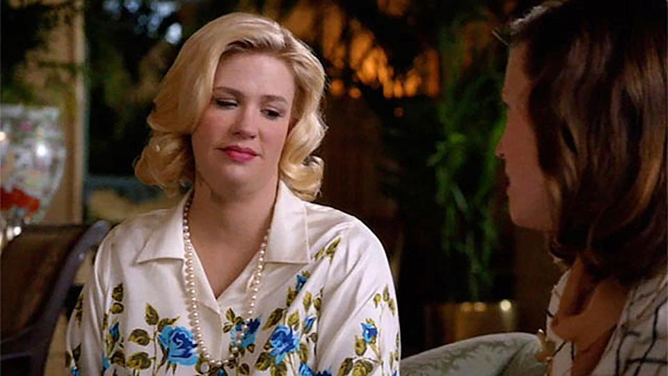 "<p>January Jones <em>also </em>had to don a fat suit when she was <a href=""https://people.com/parents/mad-men-january-jones-pregnant/"" rel=""nofollow noopener"" target=""_blank"" data-ylk=""slk:pregnant while filming Mad Men"" class=""link rapid-noclick-resp"">pregnant while filming <em>Mad Men</em></a>.</p> <p>On the show, Betty Draper's obsession with being thin and perfect turned into an obsession over weight gain when she was diagnosed with a benign tumor on her thyroid in season five. </p>"