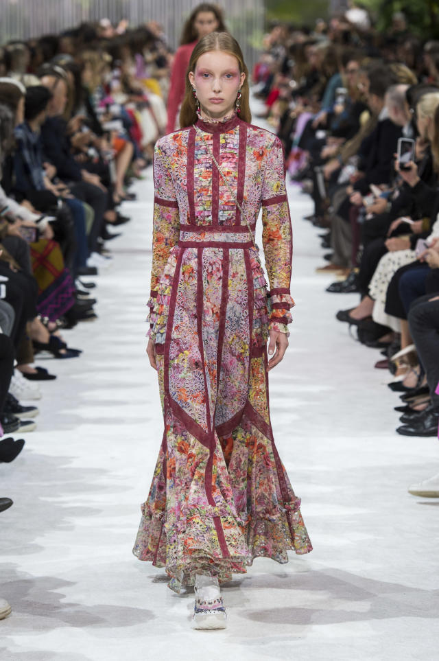 <p><i>Long sleeve floral printed gown from the SS18 Valentino collection. (Photo: ImaxTree) </i></p>