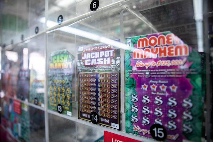 A lotto ticket display at a gas station in Greer.