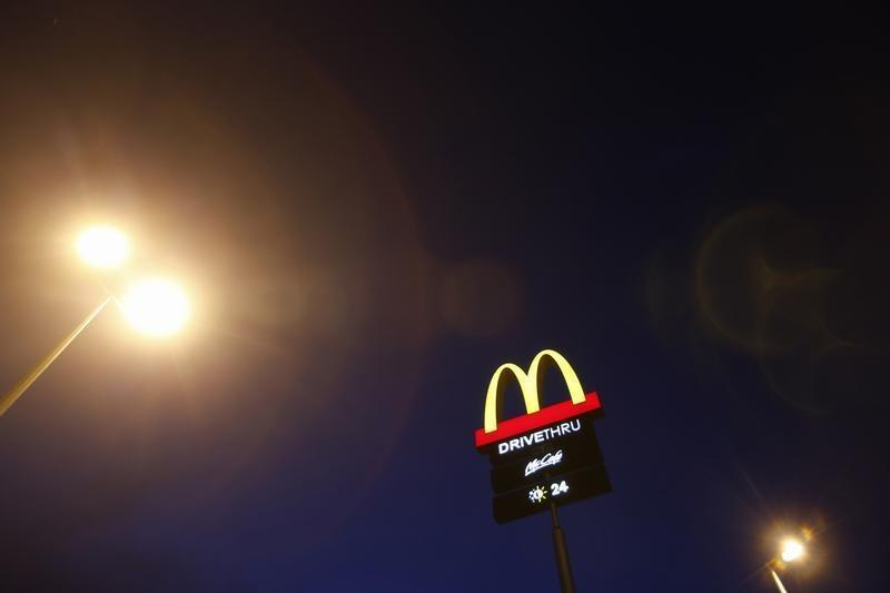 The corporate logo of McDonald's Corp fast food chain is seen on display in the Malaysian town of Pekan