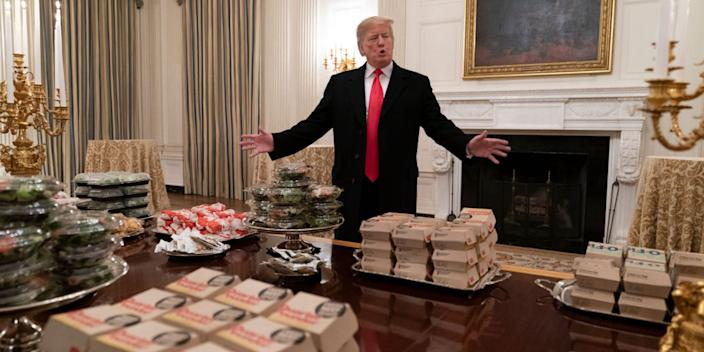 President Donald Trump at the White House on January 14, 2019, presenting fast food to be served to the Clemson Tigers football team to celebrate its NCAA title.
