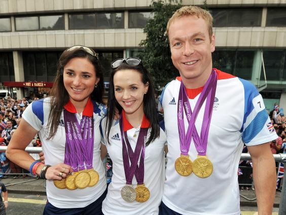 Storey, Victoria Pendleton and Chris Hoy with their London 2012 medals (PA )