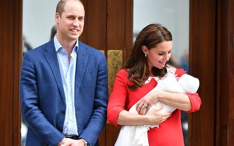 The Duke and Duchess of Cambridge outside the hospital today with their newborn - Credit: Tim Rooke/Rex/Shutterstock