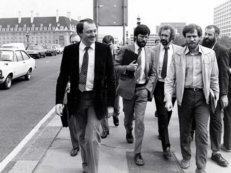 Livingstone (left) with Sinn Fein leader Gerry Adams (centre) and Jeremy Corbyn (second from right) walking on Westminster Bridge in the 1980s (Getty)