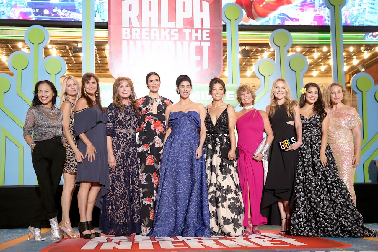 """There was a positively regal gathering of stars at the world premiere of <a rel=""""nofollow"""" href=""""https://ew.com/movies/2018/06/04/vanellope-bonds-with-disney-princesses-in-ralph-breaks-the-internet-wreck-it-ralph-2-trailer/""""><em>Ralph Breaks the Internet</em></a>. The voice actresses behind Disney's princesses — <a rel=""""nofollow"""" href=""""https://ew.com/movies/2018/05/30/wreck-it-ralph-2-disney-princesses-photo/"""">who all appear in the <em>Wreck-It Ralph </em>sequel</a> — came together on the red carpet night. From left: Irene Bedard (voice of Pocahontas), Kate Higgins (voice of Aurora), Jennifer Hale (voice of Cinderella), Jodi Benson (voice of Ariel), Mandy Moore (voice of Rapunzel), Sarah Silverman (voice of Vanellope), Ming-Na Wen (voice of Mulan), Paige O'Hara (voice of Belle), Linda Larkin (voice of Jasmine), Auli'i Cravalho (voice of Moana), and Pamela Ribon (voice of Snow White).  Keep clicking to see more photos from Monday's premiere."""