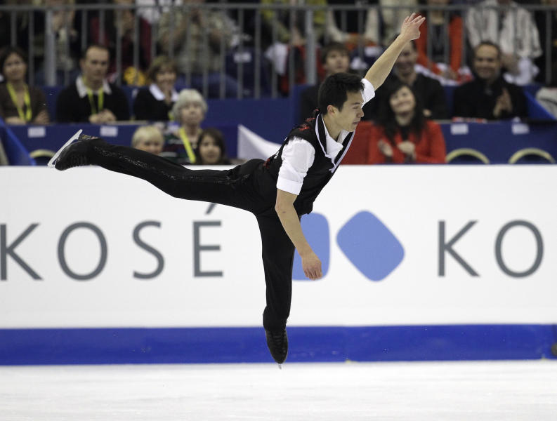 Patrick Chan of Canada performs during his men's short program at the 2012 World Figure skating Championships in Nice, southern France, Friday, March 30, 2012. Chan's bid to become the first man to win back-to-back world figure skating titles since Stephane Lambiel of Switzerland in 2006 gets underway with the short program. Meanwhile, three-time winners and defending champions Aliona Savchenko and Robin Szolkowy of Germany are favorites to win the pairs after the free. (AP Photo/Lionel Cironneau)